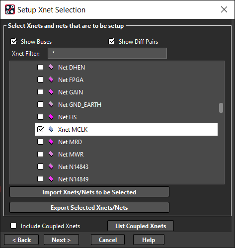 Setup Xnet Selection