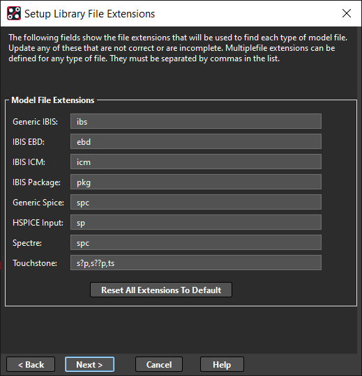 Setup Library File Extensions